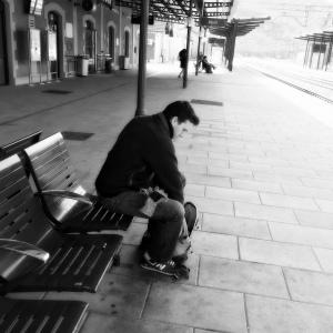 Mi hijo Pablo en la estación